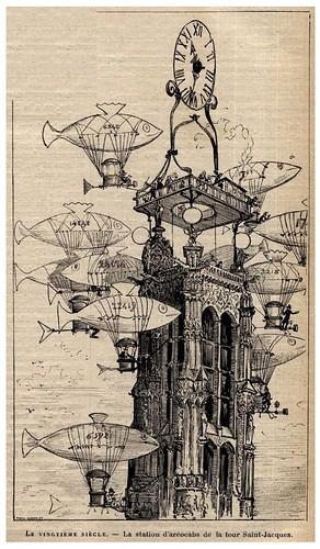 007-La estacion de aereocabinas de la torre Saint-Jacques-Le Vingtième Siècle 1883- Albert Robida