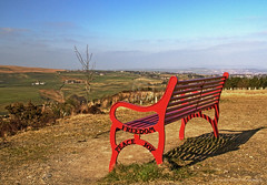 A place to rest (pixiepic's) Tags: red sky metal bench freedom peace shadows view seat joy halo haslingden