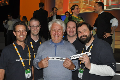 Hasso Plattner is stopping at every user exit and most important following the SAP Mentors!
