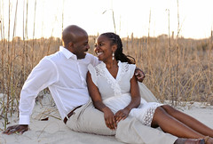 African American couple sunset engagement port...
