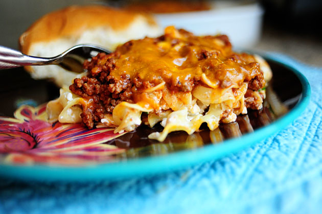 Sour Cream Noodle Bake with Beef