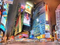 No longer a crossroad. (Tony Shi.) Tags: street new york city nyc light urban panorama usa ny newyork chevrolet night america square time squares pano screen led times crossroad sq ts hdr nasdaq 42nd reuter