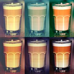 Macchiatospielerei (wulpix) Tags: white color colour coffee milk cafe colorful au kaffee lait colourful latte bunt macchiato caf milch milchkaffe