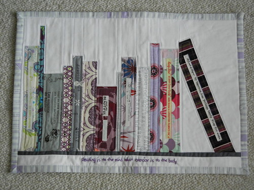 Better shot - Finished MMM bookshelf mini-quilt