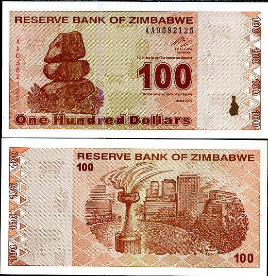 100 dolárov Zimbabwe 2009