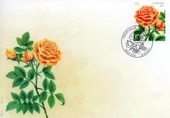 """Pirmās dienas aploksne, zīmogs pastmarkai """"Roze"""""""