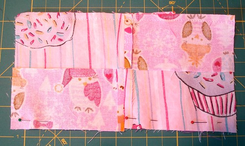 Altered Four Square Quilt Block Tutorial: Pinning the Bottom of the Framing Pair