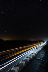 Light Trails Towards Risby Junction A14 (Andrew Stawarz) Tags: road sky night stars lights nikon lighttrails meet burystedmunds a14 risby adobelightroom d700 06ndgrad 1424mmf28gedafsnikkor burystedmundsphotographicsociety
