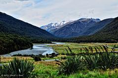 Cameron's Flat ((nz)dave) Tags: newzealand sky mountain nature water grass river flat valley vista otago flax nzl nikoncorporation cameronsflat nikond300 afzoom1755mmf28g