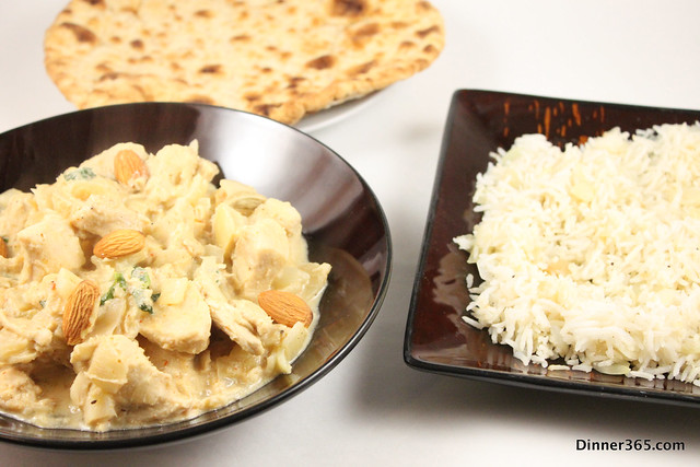 Day 87 - Almond Chicken, Ghee Rice and Naan