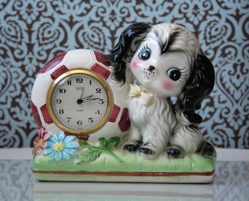 vintage puppy clock