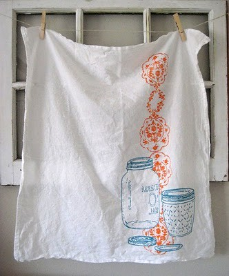 Hand Painted Mason Jar Towel from ohlittlerabbit