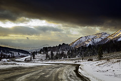 Rams Horn (scifitographer) Tags: road winter sunset vacation snow mountains clouds dirt wyoming 2009 bethanthony retroreflectography