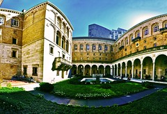 Boston Public Library Courtyard Fall Afternoon - IMRAN (ImranAnwar) Tags: architecture boston imran iphone iphone6splus panorama usa courtyard fountain italian shrubbery