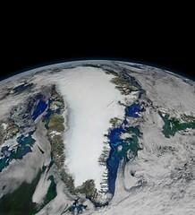 Greenland on Top of the World (sjrankin) Tags: 5october2016 edited nasa greenland atlanticocean northatlanticocean icesheet clouds icefloes landsat projected earthslimb arcticocean canada