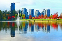 Lafarge Lake and highrises (Carrie YL) Tags: autumn coquitlam vancouver britishcolumbia centralparkofcoquitlam canon lafargelake