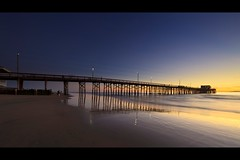 photographer (Eric 5D Mark III) Tags: california sunset people usa seascape color reflection beach canon landscape pier twilight photographer unitedstates perspective atmosphere wideangle newportbeach gradient orangecounty ef14mmf28liiusm eos5dmarkii