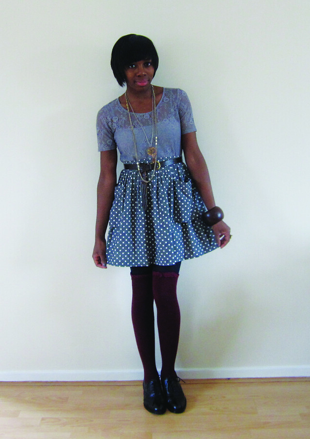 polka dot skirt grey lace top