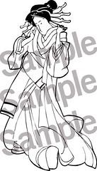 Japanese Geisha Princess Printable Coloring Page