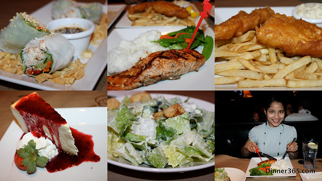 Day 28 - Dinner @ Jack Astor's: Thai Chicken Summer Roll, Caesar Salad, Fish and Chips, Chipotle-Mango Rubbed Salmon and NewYork Vanilla Cheesecake