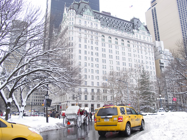 Plaza Hotel, in the snow