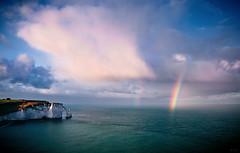 Two rainbows / Две радуги (Boris Kukushkin) Tags: ocean sky seascape france water clouds sunrise landscape rainbow etretat небо вода пейзаж облака радуга рассвет океан франция этрета морскойпейзаж
