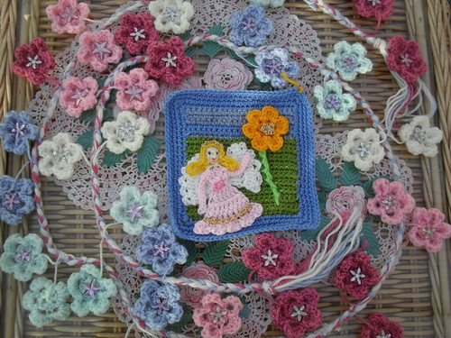 crochet3love (UK) Your Squares arrived today! Thank You! 'A Flower Fairy Square granting a wish!' For the 'Young At Heart' Challenge....>