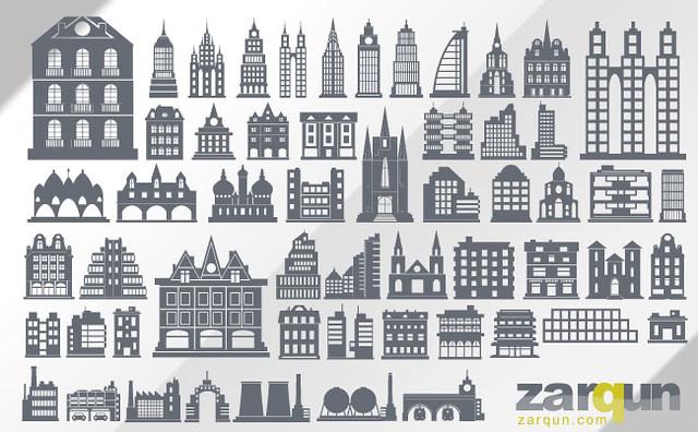 Siluetas de edificios en vector
