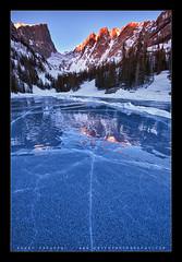 ICE.. (Koveh Photography) Tags: blue red orange lake mountains reflection ice sunrise canon eos nationalpark colorado rmnp rockymountainnationalpark alpenglow 1635 coloradomountains dreamlake landscapephotography hallettpeak icecracks ef1635 iceabstract 5dmkii smoothice kovehphotography koveh