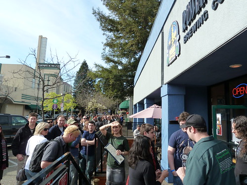 The line outside to get in was long all day