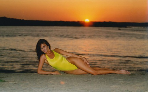 Traci Sikkink - Yellow Swimsuit - Mississippi River - Sunset