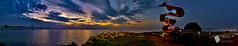 Panorâmica Amanhecer no Emissário Submarino (FellipeC) Tags: ocean sea panorama praia beach sunrise dawn mar wide santos amanhecer oceano nascerdosol panorâmica