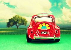 My Little Broken Red Love Bug (CountYourBle$sings) Tags: old blue red sky white blur flower reflection tree cute green love broken window field car yellow cake clouds bug relax back focus pretty view bright little fuzzy sweet vibrant relaxing sunny scene front clear inside buggy tone vwbug volkswagenbug admiring bumpers ourdailychallenge voxwaggon