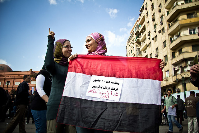 Women in Hijab Hold Egyptian Flag
