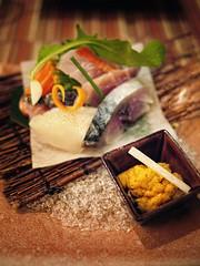 P1000474 (Nachosan) Tags: nyc ny newyork japan lumix cuisine kyoto sashimi maine salmon squid uni seaurchin kaiseki yellowtail nachosan kyoya gf1 butterfish portlans