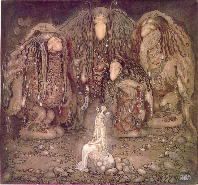 John Bauer - Illustration of Walter Stenström's The boy and the trolls or The Adventure in childrens' anthology Among pixies and trolls, a collection of childrens' s