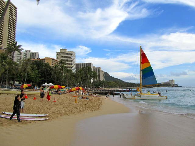 Hawaii, Honolulu, Oahu, Waikiki Beach, beaches