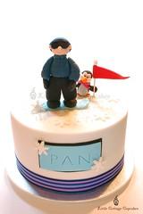 Happy Birthday Pan! (Little Cottage Cupcakes) Tags: birthday snowflake blue cake penguin flag snowboard snowboarder fondant sugarpaste littlecottagecupcakes