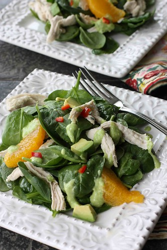 Spinach Salad Recipe with Chicken, Orange & Avocado