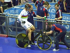Chris Hoy (murky) Tags: manchester velodrome nationalcyclingcentre chrishoy uciworldcupclassics