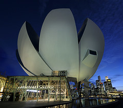 What goes on inside the new ArtScience Museum? (williamcho) Tags: sky building tourism pool museum architecture modern landscape hotel singapore stitch icon science casino trendy bluehour exhibits attraction topaz d300 marinabay marinabaysands vertorama astoundingimage williamcho artsciencemuseum williaamcho
