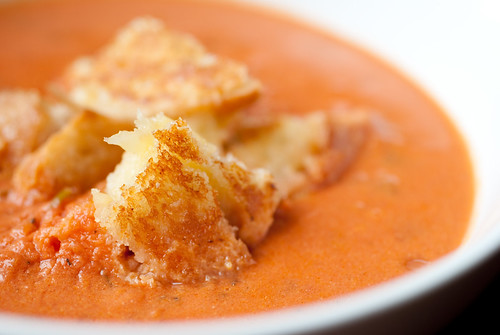 "Closeup: Sherried Tomato Soup with grilled cheese ""croutons"""