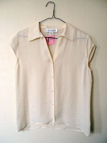 Buttondown Silk Capped Sleeve Top