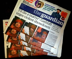 Gaddafi's long goodbye (Mig_R) Tags: uk news newspaper newspapers headlines february libya guardian theguardian libyan gaddafi 2011 colonelgaddafi