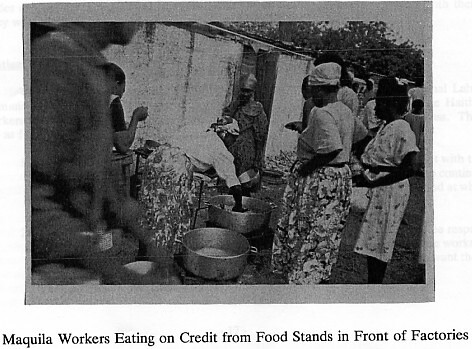 Maquila Workers Eating on Credit from Food Stands in Front of Factory