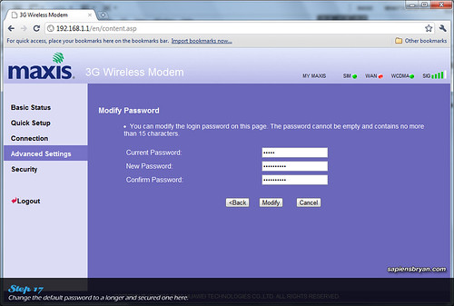 how to make password for wifi modem