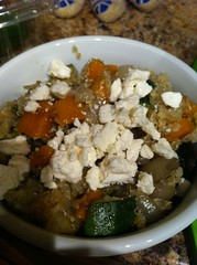 Melange of Butternut Squash, Zucchini, Onions tossed with Quinoa over Kale