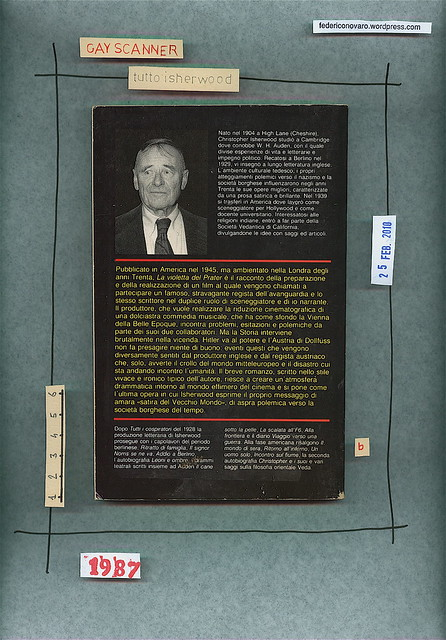 Christopher Isherwood, La violetta del Prater, Mondadori / De Agostini 1987. Quarta di copertina