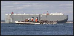 BOSPOROUS HIGHWAY and WAVERLEY (leightonian) Tags: uk island boat ship unitedkingdom isleofwight solent gb isle cowes roro wight iow vehiclecarrier