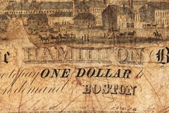 Hamilton Bank Boston One Dollar closeup